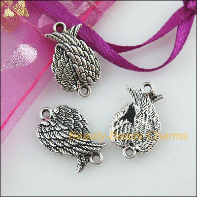 8 New Charms Birds' Wings Tibetan Silver Tone Pendants Connectors 11x18.5mm