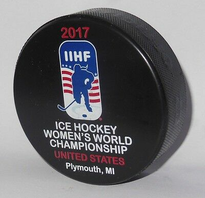 2017 IIHF official HOCKEY GAME PUCK world championship WOMEN USA Plymouth CANADA