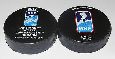 2017 IIHF official HOCKEY GAME PUCK world championship DIVISION II ROMANIA