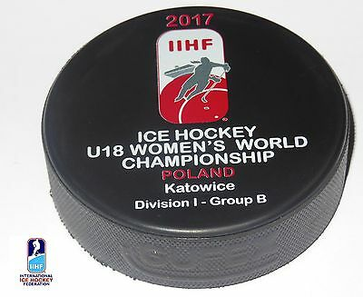 2017 IIHF official HOCKEY GAME PUCK world championship WOMEN U18 Divis. POLAND