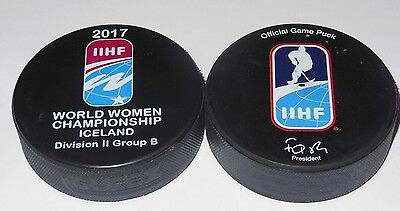 2017 IIHF official HOCKEY GAME PUCK world championship WOMEN Iceland DIVISION II