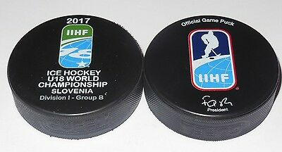 2017 IIHF official HOCKEY GAME PUCK world championship JUNIOR U18 divis SLOVENIA