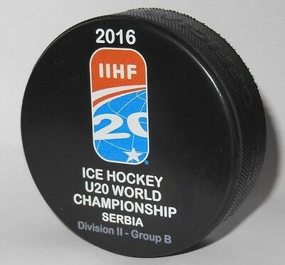 JUNIOR U20 IIHF official hockey game puck WORLD div. CHAMPIONSHIP 2016 SERBIA