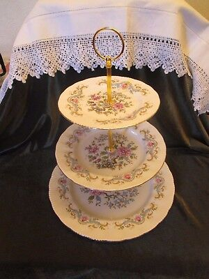 Lovely Vintage Royal Standard China Plated 3 Tier Cake Stand 'mandarin'