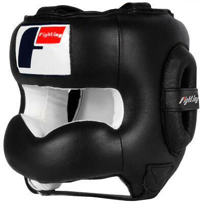 Black//Red Forza Sports Leather Full Face Boxing and MMA Headgear
