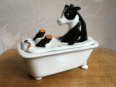 Carlton Ware Lustre Pottery Roger Michell Cow in Bath Trinket Dish Lid Box