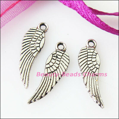 30 New Tiny Wings Tibetan Silver Tone Charms Pendants 5x17mm