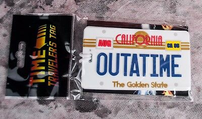 OUTATIME Back to the Future LUGGAGE TAG Delorean License Plate GEEKFUEL new