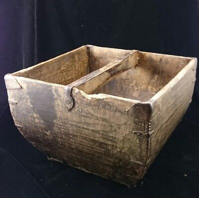 ANTIQUE Large ASIAN CHINESE Wood Rice Grain HARVEST BUCKET Basket with Handle
