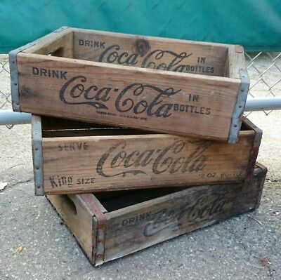 COCA COLA CRATES Vintage Soda Carrying Tray Wood Patina 1960 Ad Soft Drink LOT