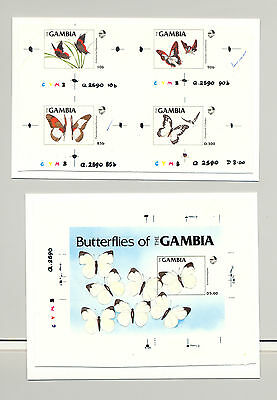 Gambia #533-537 Butterflies 4v on 1v & 1v S/S Imperf Chromalin Proofs Mounted
