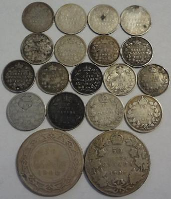 1885-1919 Canada, Lot Of 19 Silver Coins, Including Newfoundland 50-Cents