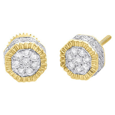 10K Yellow Gold Diamond Octagon Flower Cluster Fluted Stud 7.5mm Earrings 1/2 CT