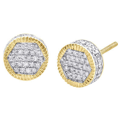 10K Yellow Gold Real Diamond 3D Hexagon Fluted Studs 8.75mm Pave Earrings 1/2 CT