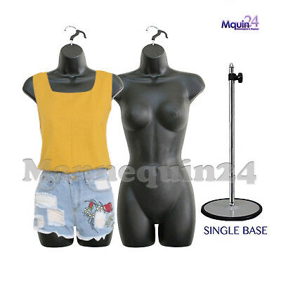 LOT of 2 pcs of FEMALE BODY MANNEQUIN BODY FORMS BLACK +1 METAL STAND +2 HANGERS