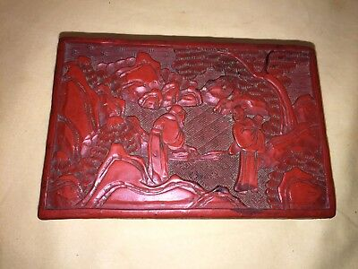 Vintage Chinese Carved Red Cinnabar Lacquer Box