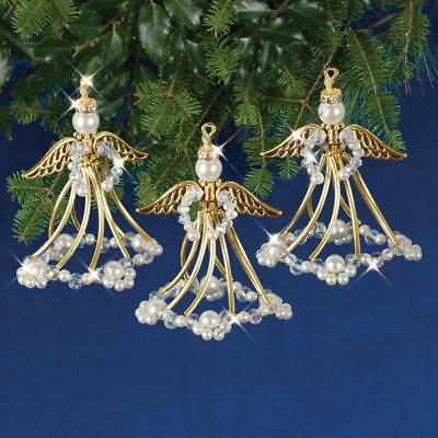 Golden Angels Holiday Beaded Christmas Ornament Kit  makes 3