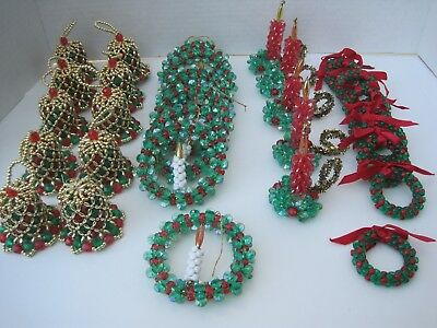 Beaded Christmas Ornaments Lot of 32 Handmade Vintage Crafted Holiday Decoration