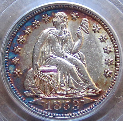1853 Arrows Seated Dime, Major Eye Appeal, Vivid Luster & Toning, PQ, PCGS AU58