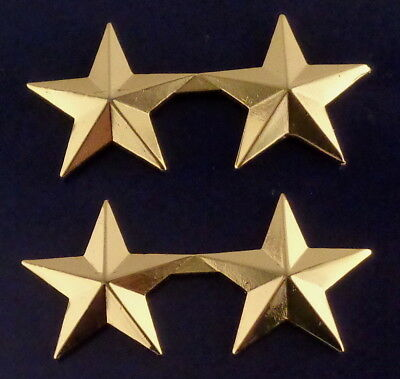 "2 stars 1"" POLISHED GOLD Pair Collar Pins Rank Insignia police/chief/deputy"