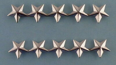 "5 stars 5/8"" POLISHED SILVER epaulet/shoulder Pins Rank Insignia police chief"