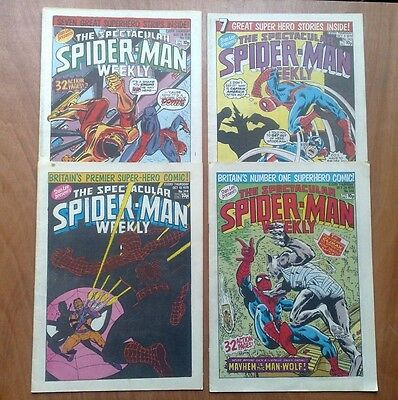 Job Lot Of 4 Spectacular Spider-Man Uk Marvel Weekly Comics 1979 Godzilla, Thor
