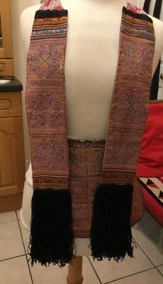 Vtg Chinese Miao Hmong Tribal Ethnic Folk Embroidery Costume Apron Tassels