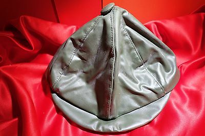 "Vintage child's hat/cap 1950's-green ""leather look"" button on top, peak at front"