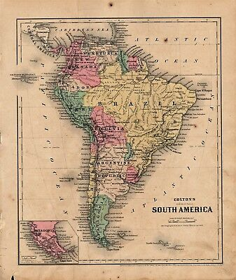 1860 Two-Sided Original J H Colton Map South America/Europe