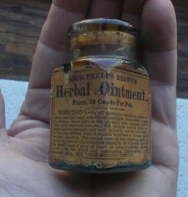 DR.O.PHELPS BROWN EMB & LABEL BROWN'S HERBAL OINTMENT 1880s UNOPENED BOTTLE