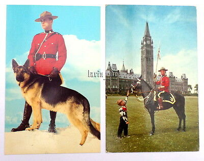 2 Postkarte Kanada RCMP Royal Mounted Police in Uniform Polizei Hund Canada