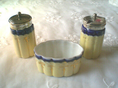 3 Piece Set, MUSTARD, PEPPER SHAKER & SALT CELLAR w/ EPNS LIDS ca. 1900 England