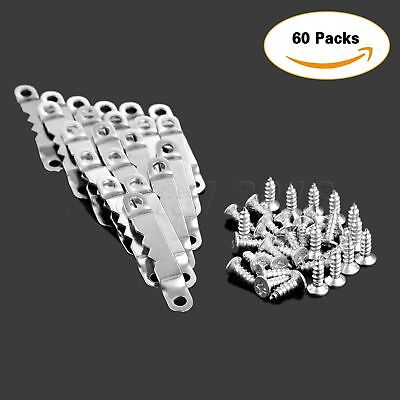 60Pcs Stainless Silver Saw Tooth Hanging Picture Frame Hanger Hook &120 Screws
