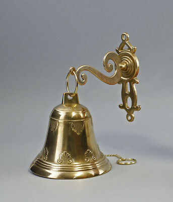 9977155 Brass Bell with Wall Mount Antique Style 20x26cm