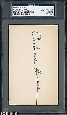 Cordell Hull Signed Index Card AUTO Autograph PSA/DNA AUTHENTIC Stock Photo