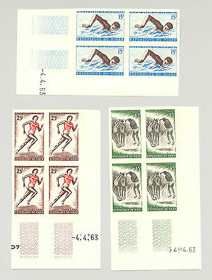 Niger #114-116 Sports, Volleyball 3v Imperf Blocks of 4