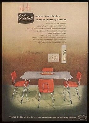 1953 Virtue Brothers plastic & chrome dinette set vintage print ad