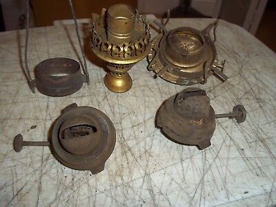 8 Pc Lot Vintage Oil Lamp Lantern Replacement Parts Bronze Brass See Detail Pics