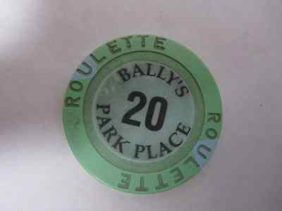 BALLY'S PARK PLACE 20 ROULETTE GREEN & BLUE Casino Poker Gaming Chip