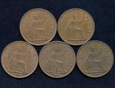 Lot Of 5 Great Britain 1966 1 Penny Coins