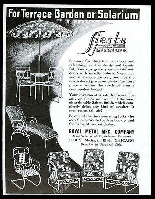 1939 Royal Fiesta wrought iron furniture chair table chaise vintage print ad