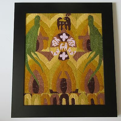 Vintage Mexico Indian Folk Art Abstract Spiritual Ceremonial Deer Expressionism