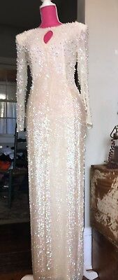Vtg 80s DEADSTOCK NWT DONECKERS Ivory SILK Beaded Sequin Fitted Evening Gown S/M