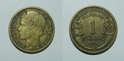 France : French West Africa 1 Franc 1944