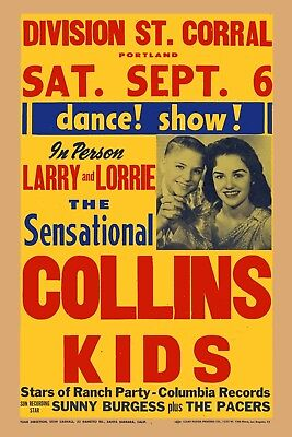 Rockabilly: The Collins Kids & Sonny Burgess In Portland Poster 1958  12x18