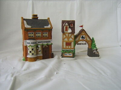 "Lot of 2 Dept 56 Dickens' Village ""Postern"" ""Geo Weeton Watchmaker"" MIB"