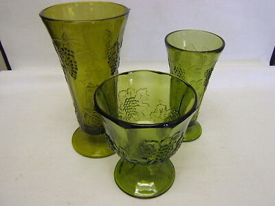 """Indiana Green Glass Lot of 3 footed """"Grapes & Vines"""" Vases & Compote EUC"""