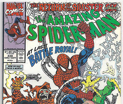 The Amazing Spider-Man #338 vs SINISTER SIX from Sept. 1990 in Fine condition DM