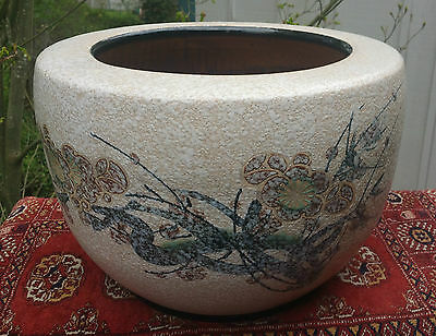 TREE planter vtg japanese floor vase big garden bonsai pot porcelain pottery urn