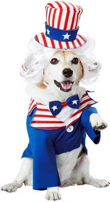 Uncle Sam Pet Dog Costume Classic white Blue Red Stripe Design Perfect July 4th